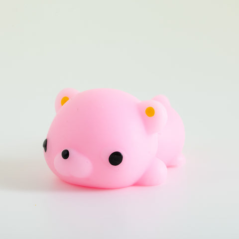 Mochi Squishy Animal - Pink with small rounded ears with yellow
