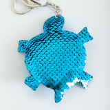 Sequin Marine Animal Keychain - Turtle, Turquoise