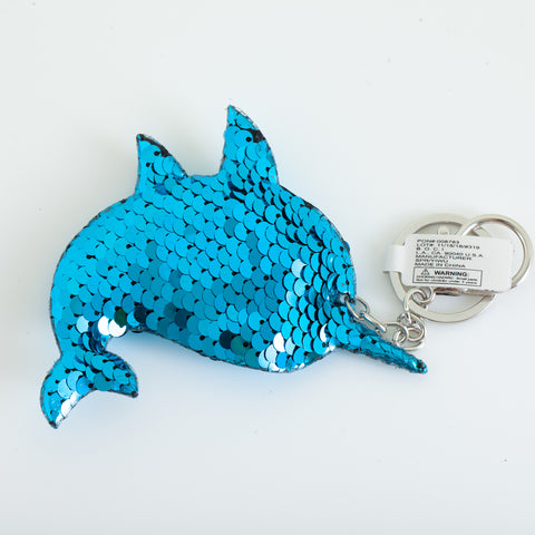Sequin marine Animal Keychain - Narwhal, Turquoise