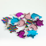 Sequin Marine Animal Keychain - Dolphin, Fuschia