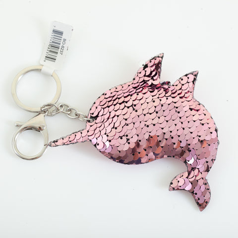 Sequin Marine Animal Keychain - Narwhal, Dusty Pink