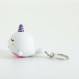 Light Sounds Narwhal Keychain - White