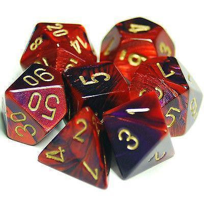 Polyhedral 7-Die Gemini Dice Set - Purple-Red/Gold - It Came From Planet Earth  - 1