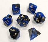 Polyhedral 7-Die Gemini Dice Set - Black Blue Gold - It Came From Planet Earth  - 1