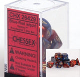 Polyhedral 7-Die Gemini Dice Set - Blue Red Gold - It Came From Planet Earth  - 2