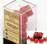 Polyhedral 7-Die Speckled Dice Set - Fire - It Came From Planet Earth  - 2
