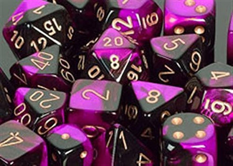 Polyhedral 7-Die Gemini Dice Set - Black Purple Gold - It Came From Planet Earth  - 1