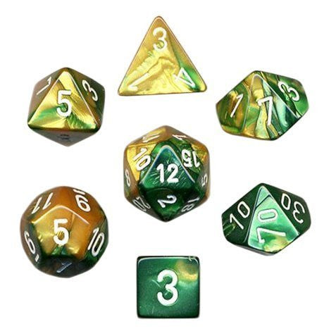 Polyhedral 7-Die Gemini Dice Set - Gold Green/White - It Came From Planet Earth  - 1