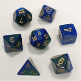 Polyhedral 7-Die Gemini Dice Set - Blue Green Gold - It Came From Planet Earth  - 1