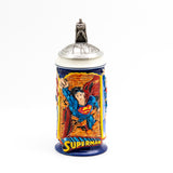 Superman, Superman Stein w/ Pewter Figural Lid DC / Stonewear 2000 Unused