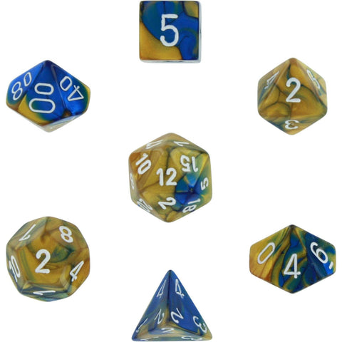 Polyhedral 7-Die Gemini Dice Set - Blue Gold White - It Came From Planet Earth  - 1