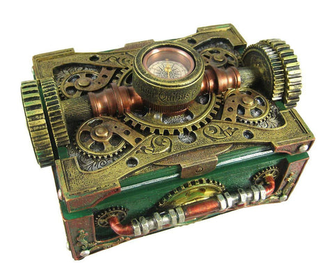 Steampunk Trinket Jewelry Box with Compass - It Came From Planet Earth  - 1