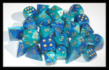 Polyhedral 7-Die Gemini Dice Set - Blue-Teal/Gold - It Came From Planet Earth  - 1