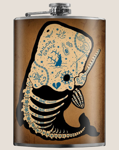 Flask - Tattoed Whale