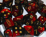 Polyhedral 7-Die Gemini Dice Set - Black Red Gold - It Came From Planet Earth  - 2