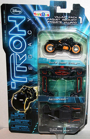 Tron Legacy Diecast Villain Pack - Clu's Light Cycle - Recognizer - Clu's Command Ship Vintage - It Came From Planet Earth