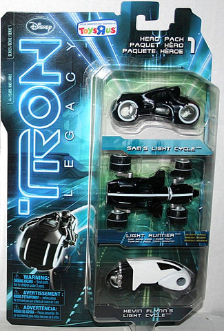 Tron Legacy Diecast Hero Pack - Sam's Light Cycle - Light Runner - Kevin Flynn's Light Cycle Vintage - It Came From Planet Earth