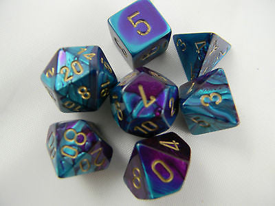 Polyhedral 7-Die Gemini Dice Set - Purple Teal Gold - It Came From Planet Earth  - 1