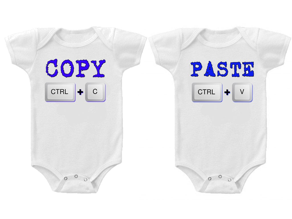 Twins Baby Boys Girls Funny Bodysuits Creeper Copy and Paste #3