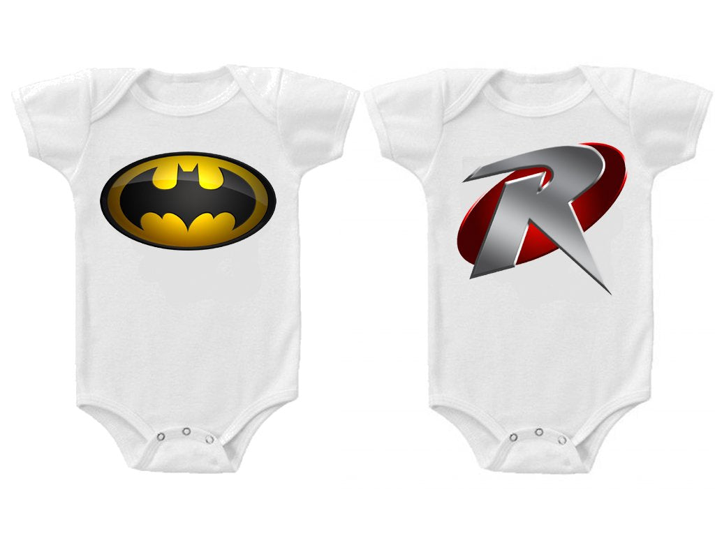 Twins Baby Boys Girls Funny Bodysuits Creeper Batman and Robin