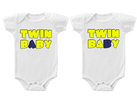 Twins Baby Boys Girls Funny Bodysuits Creeper Twin A and B