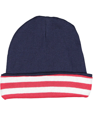 Very Soft Baby Rib Cap Navy Red with White Stripes