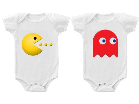 Twins Baby Boys Girls Funny Bodysuits Creeper Pac Man and Ghost