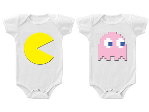 Twins Baby Boys Girls Funny Bodysuits Creeper Pac Man and Ghost #2