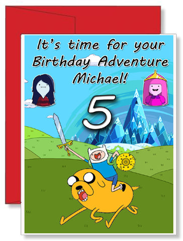 Personalized Birthday Greeting Card Adventure Time