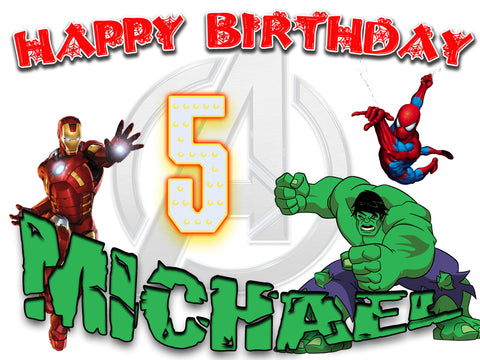 Personalized The Avengers Birthday Shirt T-shirt Hulk Spider-man Very Cute!