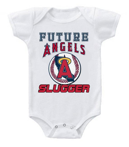 Cute Funny Baby Bodysuits Creeper Baseball MLB Los Angeles Angels #2