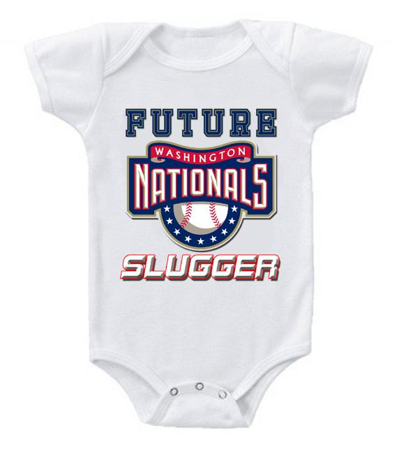 Cute Funny Baby Bodysuits Creeper Baseball MLB Washington Nationals #2