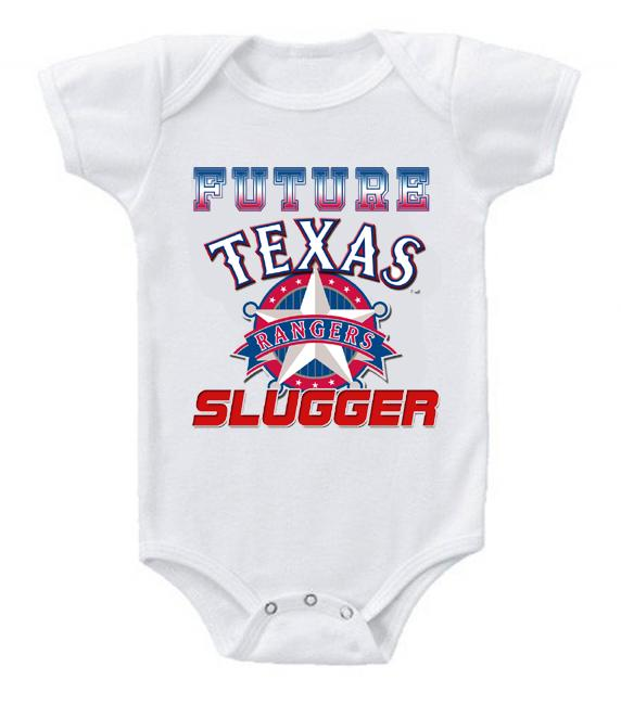Cute Funny Baby Bodysuits Creeper Baseball MLB Texas Rangers #3