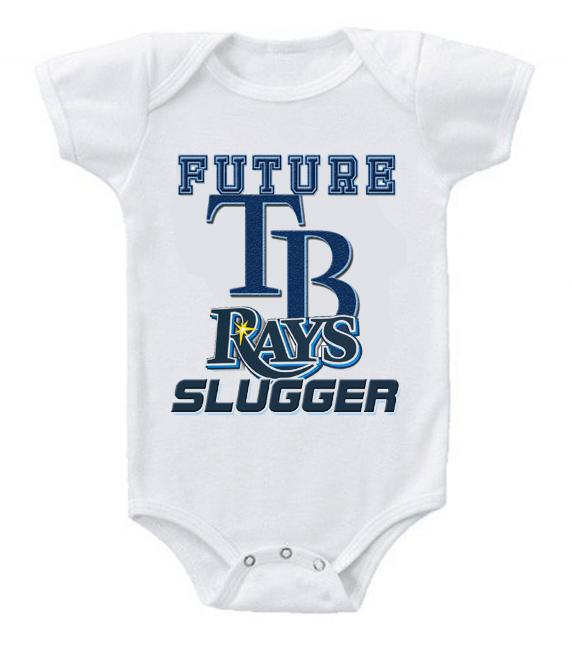 Cute Funny Baby Bodysuits Creeper Baseball MLB Tampa Bay Rays #2