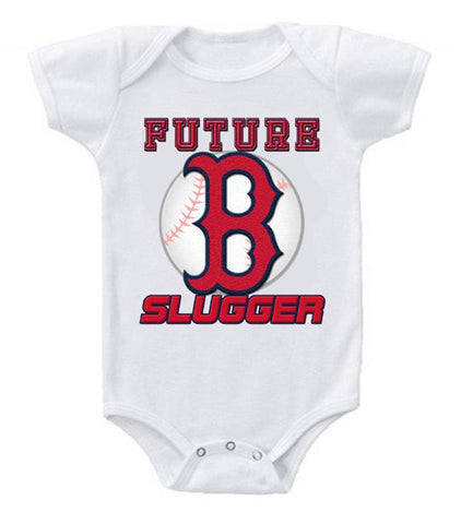 Cute Funny Baby Bodysuits Creeper Baseball MLB Boston Red Sox #4