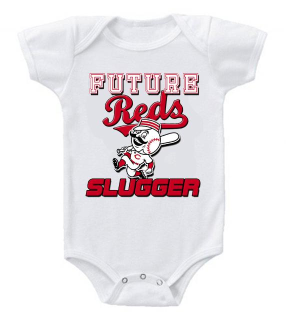 Cute Funny Baby Bodysuits Creeper Baseball MLB Cincinnati Reds #2