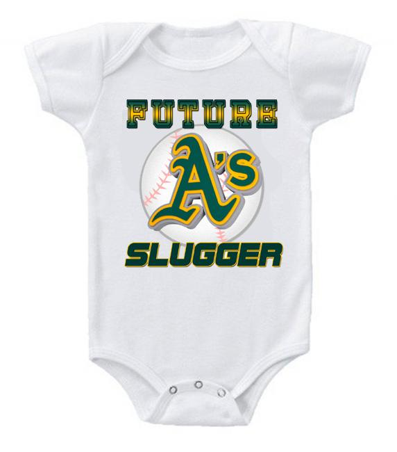 Cute Funny Baby Bodysuits Creeper Baseball MLB Oakland A's #3