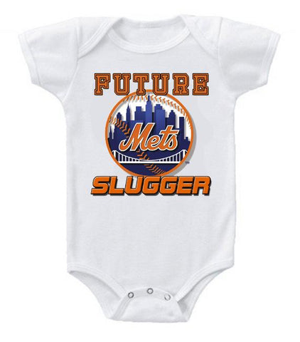 Cute Funny Baby Bodysuits Creeper Baseball MLB New York Mets #4