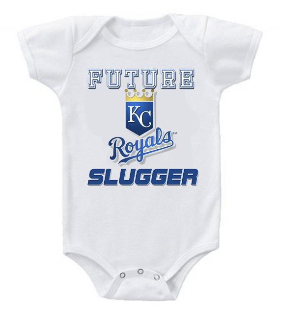 Cute Funny Baby Bodysuits Creeper Baseball MLB Kansas City Royals #2