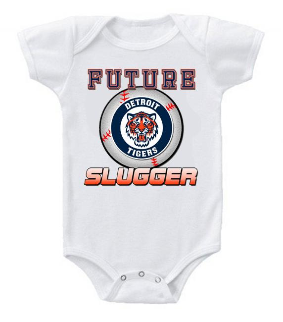 Cute Funny Baby Bodysuits Creeper Baseball MLB Detroit Tigers #2