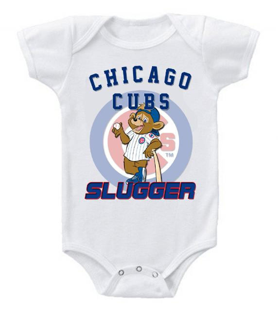 Cute Funny Baby Bodysuits Creeper Baseball MLB Chicago Cubs
