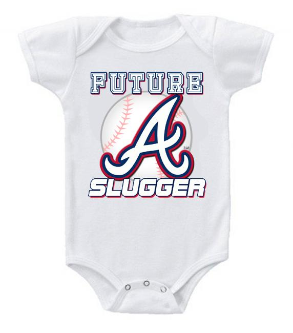 Cute Funny Baby Bodysuits Creeper Baseball MLB Atlanta Braves #3