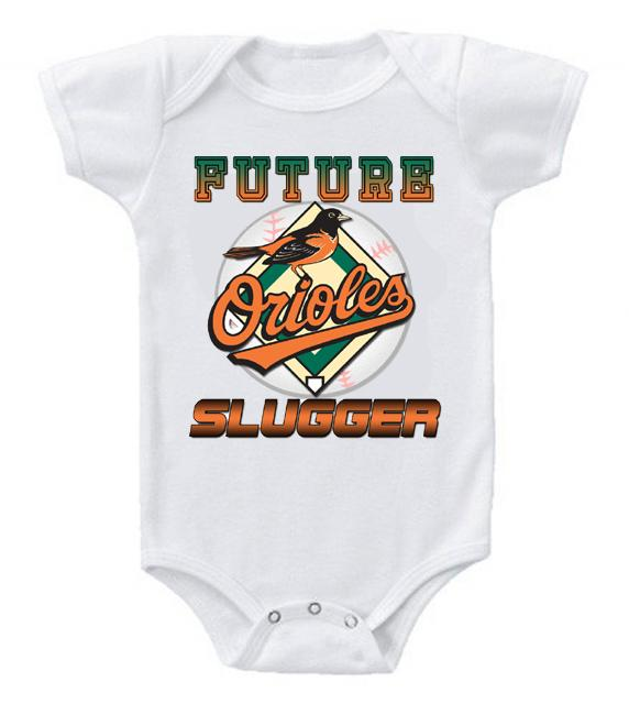 Cute Funny Baby Bodysuits Creeper Baseball MLB Baltimore Orioles