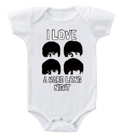 Cute Funny Baby Bodysuits Creeper I Love Long Nights Beatles