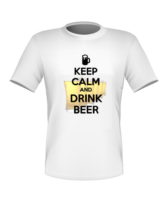 Brand New Fun Custom Stay Calm and Drink a Beer T-shirt All Sizes Nice!