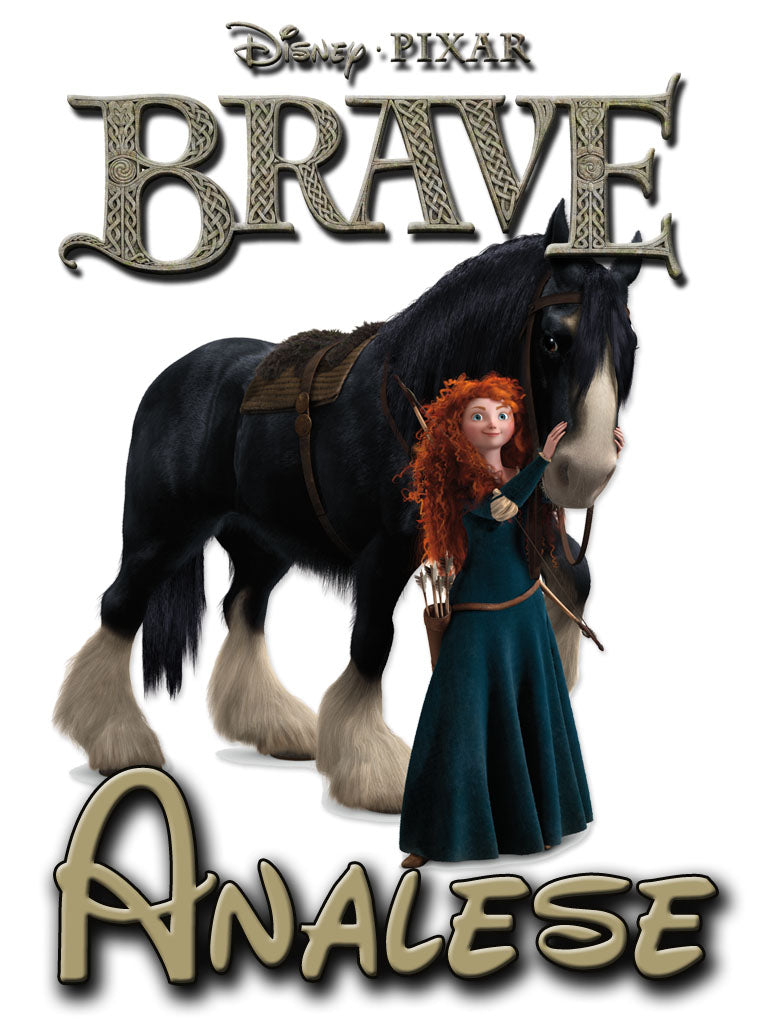 Personalized Disney Movie Brave T-shirt With Name Tee Shirt NEW Very Cute!
