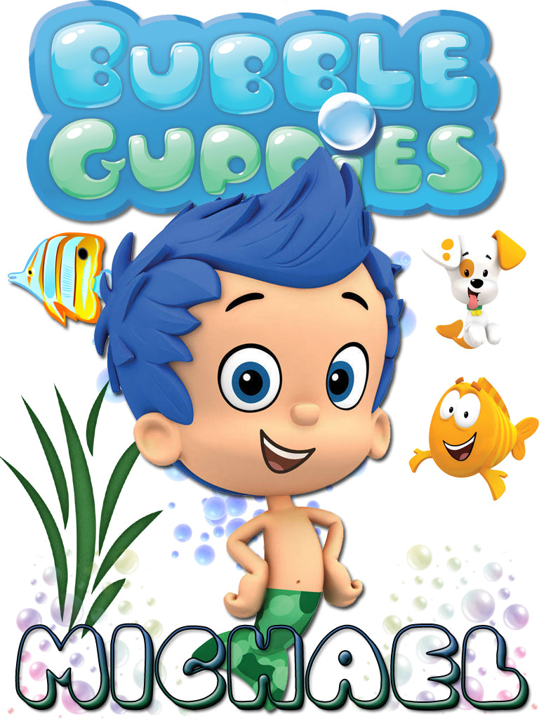 Personalized Bubble Guppies Gil TV Show T-shirt With Name Tee Shirt NEW Great Gift!