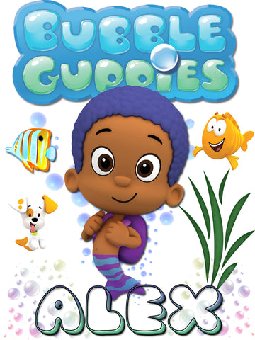 Personalized Bubble Guppies Goby TV Show T-shirt With Name Tee Shirt NEW Great Gift!