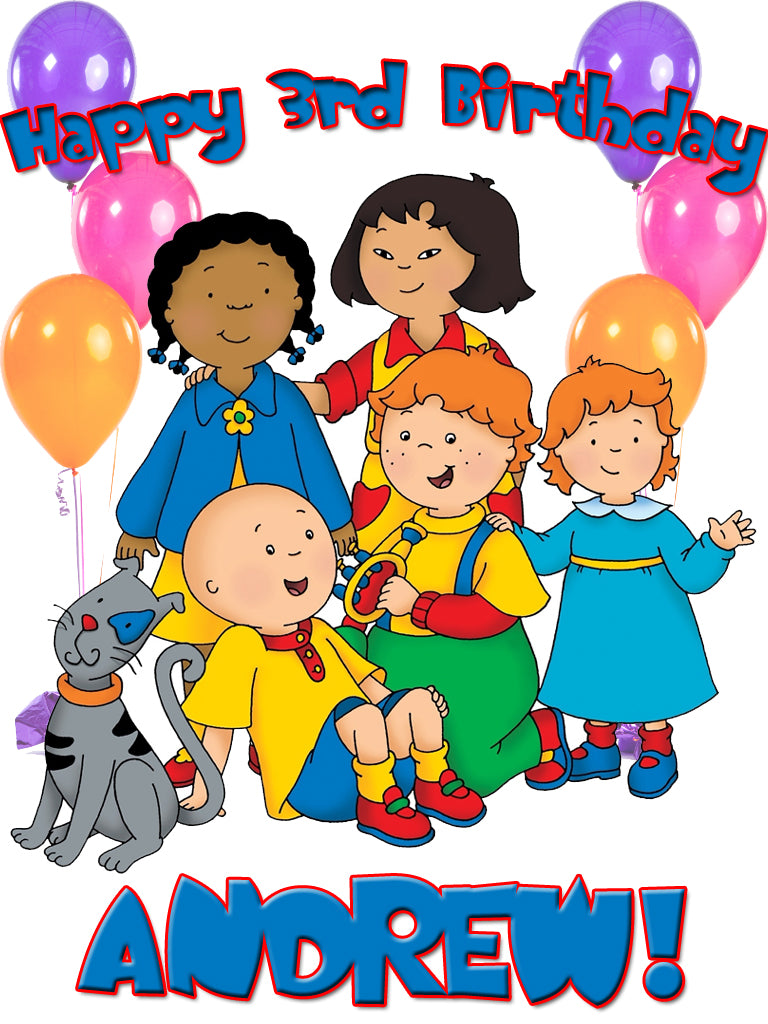 Personalized Custom Caillou Birthday Shirt T-shirt Everyone Very Cute!