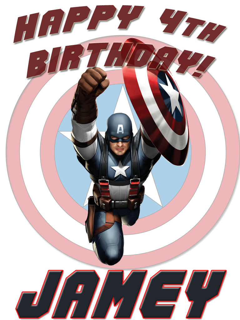 Personalized Custom Captain America Birthday Shirt T-shirt Very Cute! #2